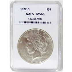 1922-D Peace Silver Dollar NACS MS66