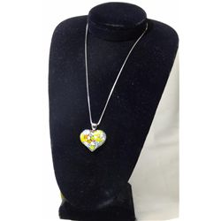 Handmade Glass Heart Shaped Necklace Silver