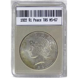1922 Peace Silver Dollar MS-67 w/Appraisal