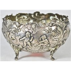 Antique 800 baroque silver basin. 19th ct
