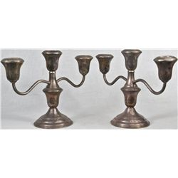 Vintage sterling silver pair of candelabras