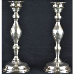 Antique sterling silver pair of candle holders