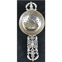 Antique Peruvian baroque sterling sieve spoon