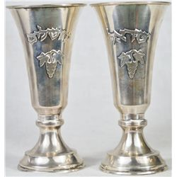 Vintage Judaic pair of 800 silver wine cups