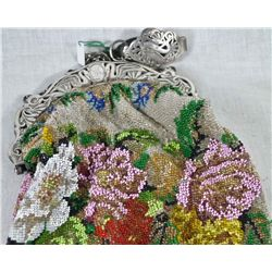 Antique ladies silver & petit point mesh purse