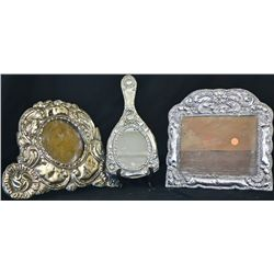 Antique silver 3 piece set mirror and frames