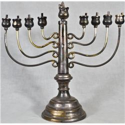 Antique Judaic silver plated Menorah