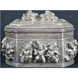 Antique Persian silver Indian figural box