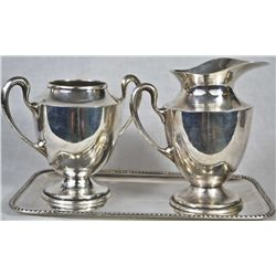 Antique 3 piece silver sugar&creamer set