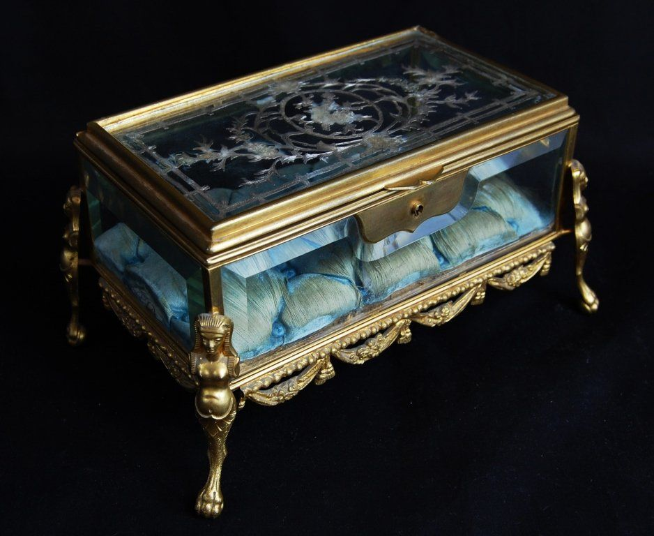 Victorian beveled glass gilded bronze jewelry box