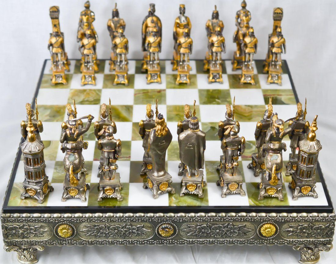 Vintage silver gold over bronze chess set - Collectible chess sets ...