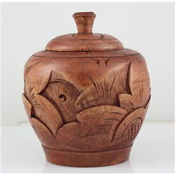 Small Hand Curving Wood Decorative Jar