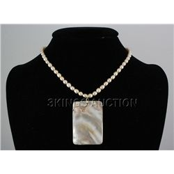 "139.16CTW 18"" PEACH FRESHWATER CAPIZ PENDANT/MOTHER OF"