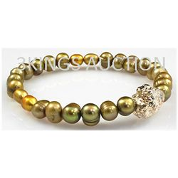 91.80ctw Natural Rice Freshwater Pearls Bracelet