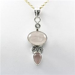 Rose Quartz Oval Pear Silver Pendant White Topaz