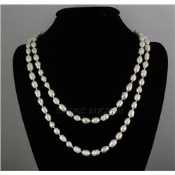 "454.9CTW 46"" WHITE LONGSTRAND FRESHWATER PEARL NECKLACE"
