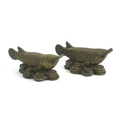 Brass Arowana Fish Work of Art Feng Shui Symbol of Supr