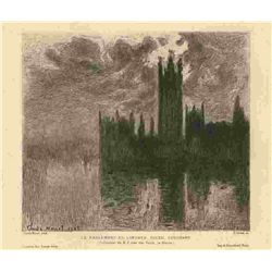 "Monet Etching ""Le Parlement De Londres, Soleil Couchant"""