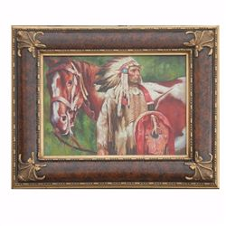 """CHIEF WITH HORSE"" - ORIGINAL OIL ON CANVAS"