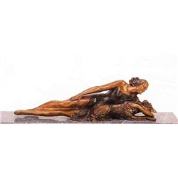 """Reclining Woman With Dog"" Bronze Sculpture - Dominisse"