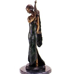 """Standing Girl With Peacock"" Bronze Sculpture - Michael S."