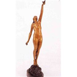 """Girl With Dove"" Bronze Sculpture - Lefaguays"