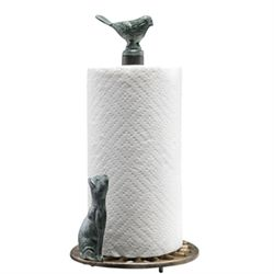 Cat & Bird Paper Towel Holder