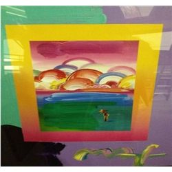 """Umbrella Man W/ Rainbow Sky"" Peter Max Original Mixed Media"