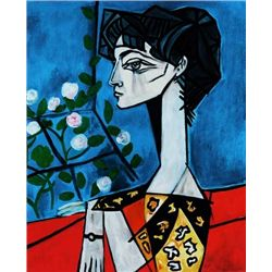 "Picasso ""Portrait Of Jacqueline Roque W/Flowers"""
