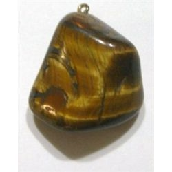 LARGE POLISHED TIGER EYE PENDENT WITH AN EYE-SCREW ATTACHED FOR NECKLACE!!