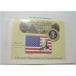 DWIGHT D. EISENHOWER $100 LIBERIA MYSTIC STAMP *RARE MINT S/S STAMP IN ORIGINAL PROTECTOR*!!