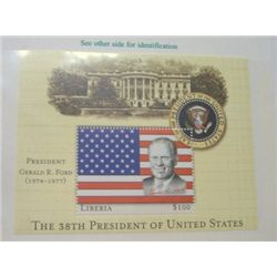 GERALD R. FORD $100 LIBERIA MYSTIC STAMP *RARE MINT S/S STAMP IN ORIGINAL PROTECTOR*!!