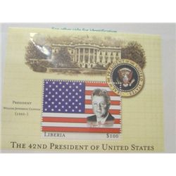 WILLIAM JEFFERSON CLINTON $100 LIBERIA MYSTIC STAMP *RARE MINT S/S STAMP IN ORIGINAL PROTECTOR*!!