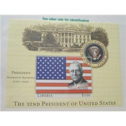 FRANKLIN D. ROOSEVELT $100 LIBERIA MYSTIC STAMP *RARE MINT S/S STAMP IN ORIGINAL PROTECTOR*!!