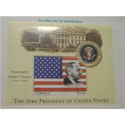 HARRY S. TRUMAN $100 LIBERIA MYSTIC STAMP *RARE MINT S/S STAMP IN ORIGINAL PROTECTOR*!!