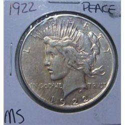 1922 Peace Silver Dollar Rare Ms High Grade