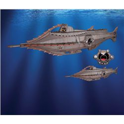 20,000 Leagues Under the Sea large-scale Nautilus submarine and squid