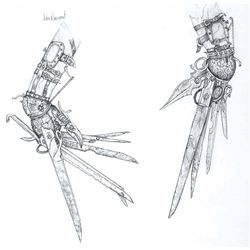 "JOHN ROSENGRANT CONCEPTUAL ARTWORK FOR JOHNNY DEPP'S ""SCISSOR-HANDS"" FROM EDWARD SCISSORHANDS"