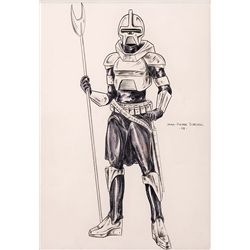 ORIGINAL JEAN-PIERRE DORLEAC COSTUME DESIGN OF A CYLON FOR BATTLESTAR GALACTICA