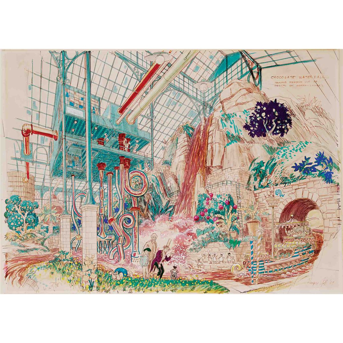 original harper goff published artwork for the chocolate room in original harper goff published artwork for the chocolate room in willy wonka the chocolate factory