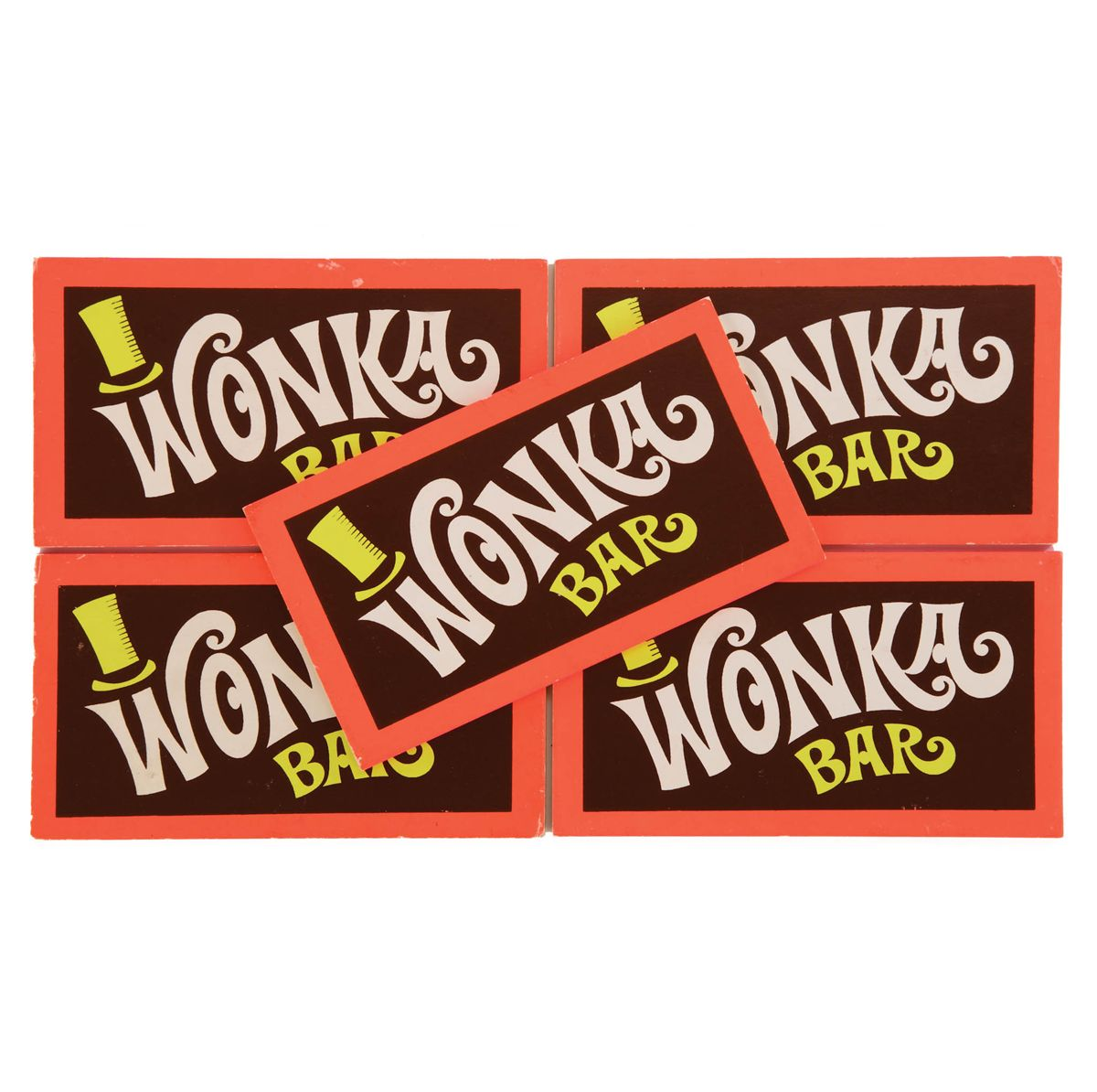 COLLECTION OF FIVE PROP WONKA CHOCOLATE BARS FROM WILLY WONKA ...