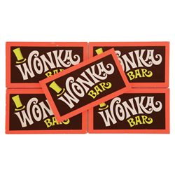 COLLECTION OF FIVE PROP WONKA CHOCOLATE BARS FROM WILLY WONKA & THE CHOCOLATE FACTORY