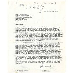 ROALD DAHL SIGNED LETTER TO WILLY WONKA & THE CHOCOLATE FACTORY PRODUCER DAVID WOLPER.
