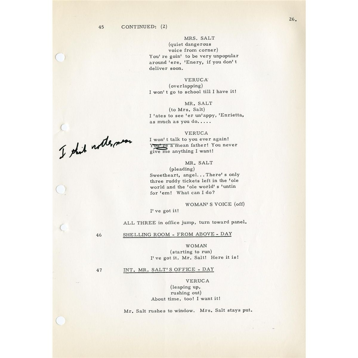 director mel stuart�s handannotated shooting script from