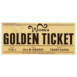 HERO WONKA GOLDEN TICKET FROM TIM BURTON'S CHARLIE AND THE CHOCOLATE FACTORY.