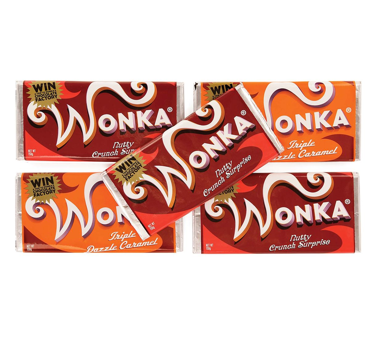 COLLECTION OF FIVE PROP WONKA CHOCOLATE BARS FROM TIM BURTON'S ...