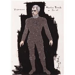 "YVONNE BLAKE COSTUME SKETCH OF MARLON BRANDO AS ""JOR-EL"" FOR SUPERMAN: THE MOVIE."