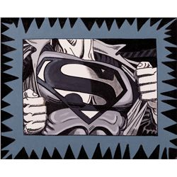 "ORIGINAL PAINTING ""SUPERMAN'S CHEST"" BY STEVE KAUFMAN"