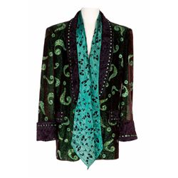 """IM CARREY """"RIDDLER"""" SEQUINED JACKET WITH SCARF FROM BATMAN FOREVER"""