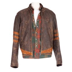 """HUGH JACKMAN SIGNATURE """"WOLVERINE"""" LEATHER JACKET AND PLAID SHIRT FROM X-MEN"""
